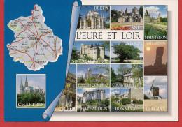28 - Carte Contour Géographique Du Département De L'EURE ET LOIR - Maps