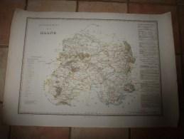 1836 Grde Carte Ancienne Réhaussée Couleurs :par A H Dufour ,  Département De La MARNE  Avec Notices Hist. Et Stat. - Geographical Maps