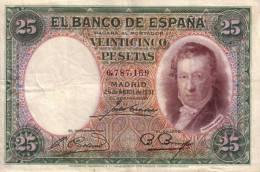25 Ptas 1931 Espagne - [ 1] …-1931 : Eerste Biljeten (Banco De España)