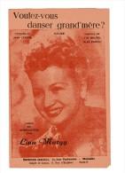 """PARTITION CHANT+ACCORDS """"VOULEZ-VOUS DANSER GRAND-M�RE"""" Lina MARGY-Paroles:Jean LENOIR-Musique:J.R.BALTEL-Alex PADOU1948"""