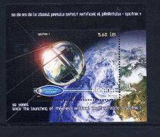 ROMANIA 2007 Anniversary Of First Artificial Satellite Block MNH / **.  Michel Block 411 - 1948-.... Republics
