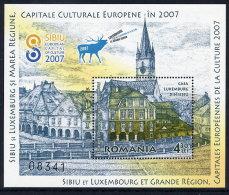ROMANIA 2007 Sibiu And Luxumbourg Cities Of Culture Block   MNH / **.  Michel Block 409 - 1948-.... Repubbliche