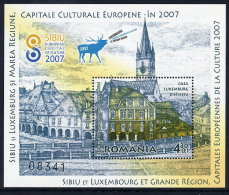 ROMANIA 2007 Sibiu And Luxumbourg Cities Of Culture Block   MNH / **.  Michel Block 409 - 1948-.... Republics