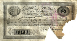 GREAT BRITAIN 5 POUND BLACK THE STAMFORD,BOSTON &SPALDING FRONT BACK  P.374c DATED 27-06-1897 G READ READ DESCRIPTION !! - 5 Pounds