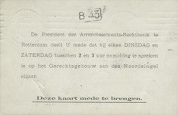 Netherlands ARRONDISSEMENTS-RECHTBANK, ROTTERDAM 1908 Card Karte (2 Scans) - Brieven En Documenten