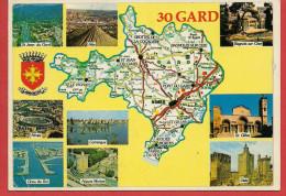 30 - Carte Contour Géographique Du Département Du GARD - Maps