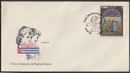 1975-FDC-7  CUBA. FDC. 1975. XV ANIV FEDERACION DE MUJERES CUBANAS. WOMEN. - FDC