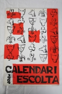 Vintage 1964 Big Wall Calendar - Boy Scouts Of Catalonya/ Spain - Scouting - 24 X 34 Cm - Calendarios
