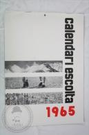 Vintage 1965 Big Wall Calendar - Boy Scouts Of Catalonya/ Spain - Scouting - 24 X 34 Cm - Calendarios