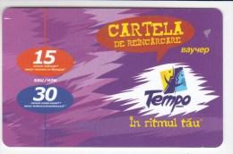 Moldova  , Voxtell , 2004 , Tempo In Ritmul Tau , 15/30  Minuts ;  Prepaid , Tip I , Plastic , Used - Telecom Operators