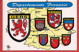 32 - Carte Contour Géographique Du Département Du GERS - Carte Geografiche