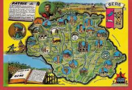 32 - Carte Contour Géographique Du Département Du GERS - Landkaarten