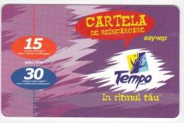 Moldova  , Voxtell , 2004 , Tempo In Ritmul Tau , 15/30  Minuts ;  Prepaid , Tip II , Plastic , Used - Telecom Operators