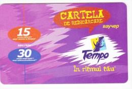 Moldova  , Voxtell , 2003 , Tempo In Ritmul Tau , 15/30  Minuts ;  Prepaid  , Plastic , Used - Telecom Operators