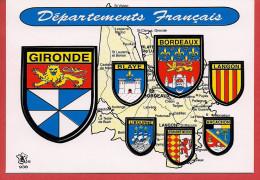 33 - Carte Contour Géographique Du Département De GIRONDE - Maps