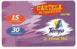 Moldova  , Voxtell , 2005 , Tempo In Ritmul Tau , 15/30  Minuts ;  Prepaid  , Plastic , Used - Telecom Operators