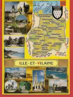 35 - Carte Contour Géographique Du Département De L'ILLE ET VILAINE - Landkaarten
