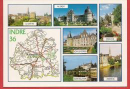36 - Carte Contour Géographique Du Département De L'INDRE - Cartes Géographiques