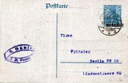 Ganzachen.entier Postal  .30 Deutsches Reich Bleu,surcharge Noire SAARGEBIET.9-11-1920. - Stamped Stationery