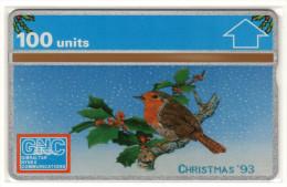 GIBRALTAR MERRY CHRISTMAS 1993 REF MVcards GIB-35  100U OISEAU ROUGE-GORGE MINT - Gibraltar