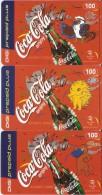 SERIE COMPLETA DE 3 TARJETAS DE MALAYSIA DE COCA-COLA  (COKE) SIDNEY 2000 OLIMPIC GAMES (MALASIA) - Publicidad