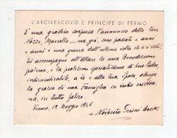 Norberto Perini. Arcivescovo E Principe Di Fermo. Biglietto Manoscritto E Firmato Su Carta Intestata. 1946 - Autographs