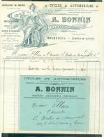 """LAC Contenant Belle Lettre à Entête """" Cycles & Automobile A. Bonnin , Bourgueil Dprt 37 Malc4810 - Cycling"""