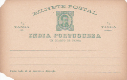 Portugal India Postal Card Quarter Tanga Mint - Postal Stationery