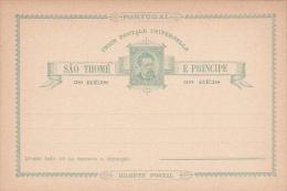 Portugal Sao Thome Postal Card 30 Reis Mint - Postal Stationery