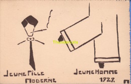 "CPA ILLUSTRATEUR ""  M  "" ARTIST SIGNED POSTCARD "" M "" ** SCOUT  ? SCOUTING ?  JAMBOREE ?  GLOBETROTTER ? JEUNE  1927 - Scoutisme"