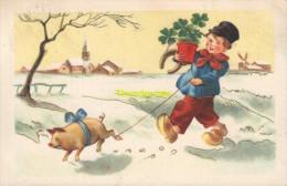 CPA DESSIN  ENFANT GARCON COCHON ** DRAWN CARD CHILD BOY PIG - Cochons