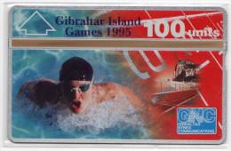 GIBRALTAR REF MVcards GIB-44  100U GAMES 95 NATATION MINT - Gibraltar
