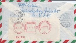 Carta Brasil Com Registo Correio Aéreo.Franquia Mecânica Terreiro Do Paço,Lisboa.Letter Brazil With Mechanical Air Mail. - Poste Aérienne