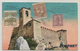 SAN MARINO - SAINT-MARIN - VF POSTCARD Rocca Da Ponente Tied With Yvert # 32-34-35 (not Circulated) - Ed. RUFO REFFI - Lettres & Documents