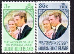 Gilbert & Ellice Islands 1973 Royal Wedding Set Of 2, MNH (A) - Îles Gilbert Et Ellice (...-1979)