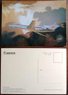 Illustration  / Carte Postale Publicitaire IBERIA Boeing 727/256 (logo Doré) - 1946-....: Moderne