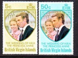 British Virgin Islands 1973 Royal Wedding Set Of 2, MNH (A) - Iles Vièrges Britanniques