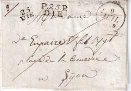 "FRANCE : MARQUE POSTALE : "" 25 DIE "" Et "" PP 25 DIE "" . 1829 . TB . - Marcofilie (Brieven)"