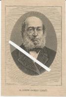 Milano, 1873 Morte Del Conte Gabrio Casati, Sindaco, Senatore, Ministro, Presidente Del Consiglio Litografia Cm. 11 X 16 - Historical Documents