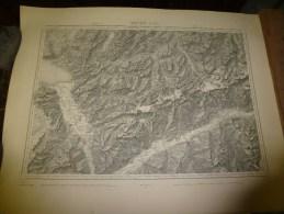 1887  Grande Carte Ancienne (Vevey , Sion ) EIDGENÖSSISHES MILITAIR ARCHIV (archives Fédérale) Par G. H. Dufour - Cartes