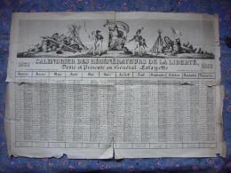 Rare calendrier r�volutionnaire grand format illustr� 1831 Gonget vendu en l'�tat voir photos