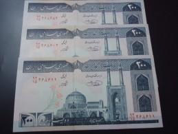 3 PIECES 1982 IRAN RARE 200 RIALS ( P 136e ) - UNC - - Iran
