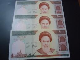 3 PIECES 1992 IRAN RARE 1000 RIALS ( P 143e ) - UNC - - Iran