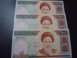 3 PIECES 1992 IRAN RARE 1000 RIALS ( P 143d ) - UNC - - Iran