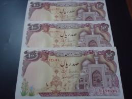 3 PIECES 1982 IRAN RARE 100 RIALS ( P 135 ) - UNC / AUNC - - Iran