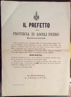 MANIFESTO 1891 . IL PREFETTO DELLA PROVINCIA DI ASCOLI PICENO - RICHIESTA DERIVAZIONE ACQUA ..vedi nota