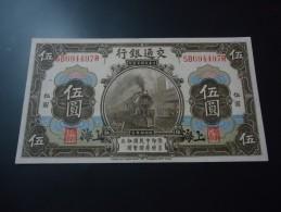 1914 CHINA ( SHANGHAI ) RARE 5 YUAN ( P 117o ) * % 100 Original * - UNC - - Chine