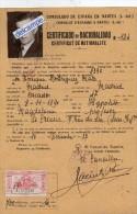 CERTIFICAT  DE  NATIONALITE  -  CONSULAT  D'ESPAGNE à  NANTES - 1937  -  Timbre Fiscal - Vieux Papiers