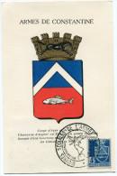 ALGERIE CARTE MAXIMUM DU N°182  4F.  ARMOIRIE DE CONSTANTINE  OBLITERATION CONSTANTINE 19 DEC. 1953 - Cartes-maximum