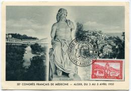 ALGERIE CARTE MAXIMUM DU N°326  30e CONGRES FRANCAIS DE MEDECINE  OBLITERATION ALGER 4 IV 1955 - Cartes-maximum